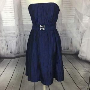 Betsy Johnson Dress Taffeta Blue Strapless 8